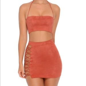 Oh Polly Brick Red Suede Tie Up Set